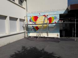 Réfection d'une fresque murale à Saint-François Annemasse