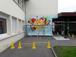 Réfection d'une fresque murale à Saint-François Annemasse